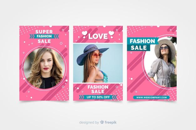 Banners de venda de moda com foto Vetor grátis