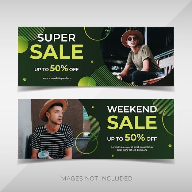 Banners de venda de moda moderna Vetor Premium