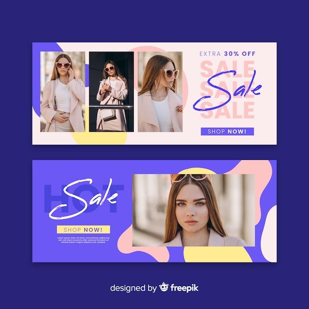 Banners de venda de moda Vetor grátis