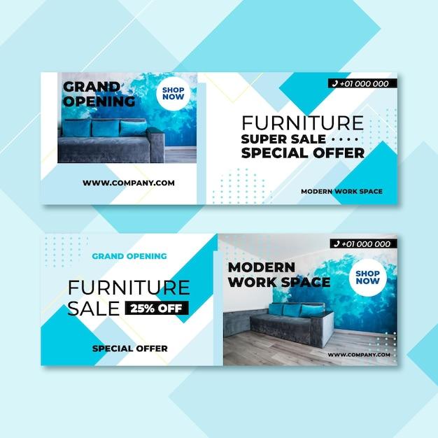 Banners de venda de móveis com foto Vetor grátis