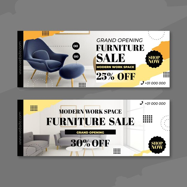 Banners de venda de móveis com imagem Vetor grátis