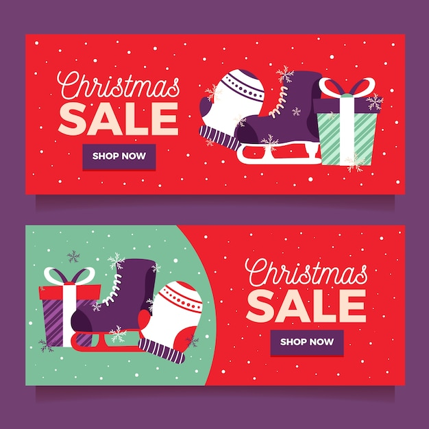 Banners de venda de natal coloridos em design plano Vetor grátis