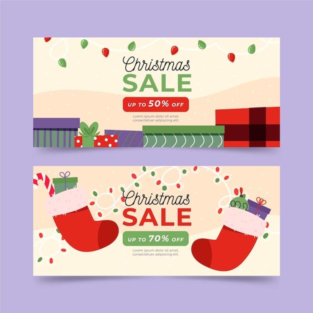 Banners de venda de natal desenhados à mão Vetor grátis