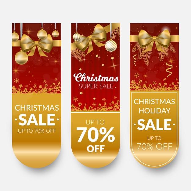 Banners de venda de natal dourado com fita e arco Vetor grátis