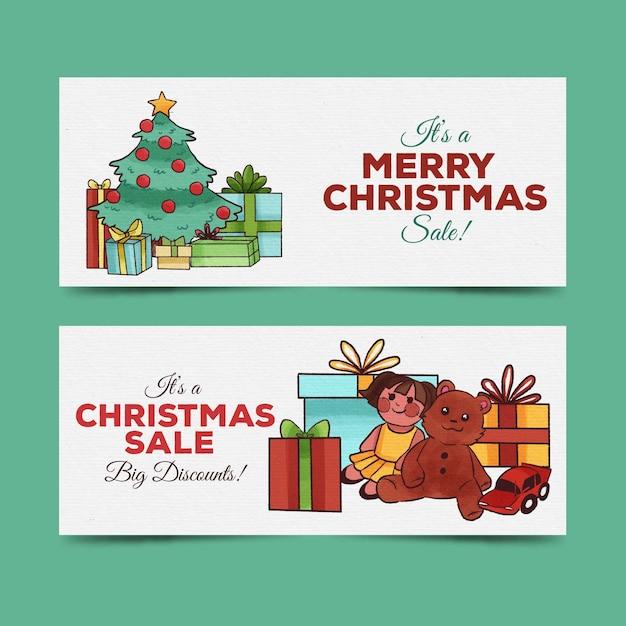 Banners de venda de natal em aquarela Vetor grátis