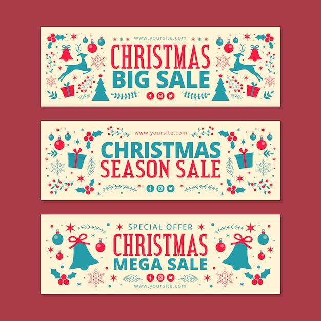 Banners de venda de natal em design plano Vetor grátis
