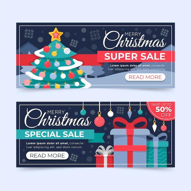 Banners de venda de natal em design plano Vetor Premium