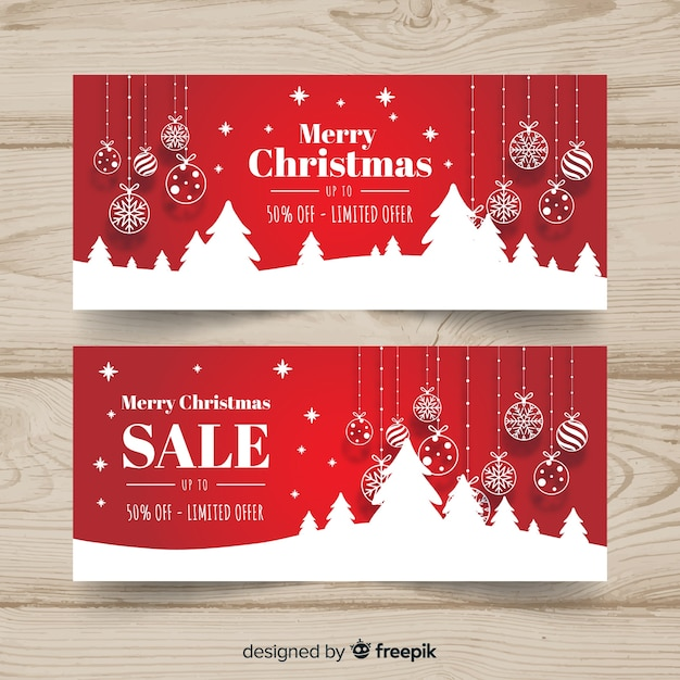 Banners de venda de natal Vetor grátis