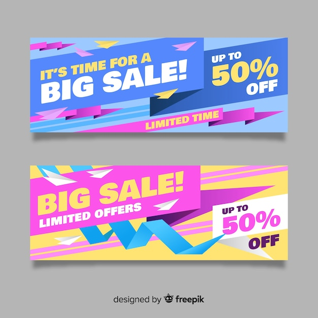 Banners de venda de origami abstrato Vetor grátis