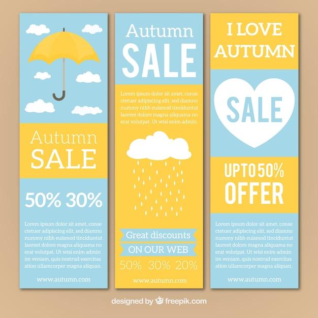 Banners de venda de outono com guarda-chuva e coração Vetor grátis