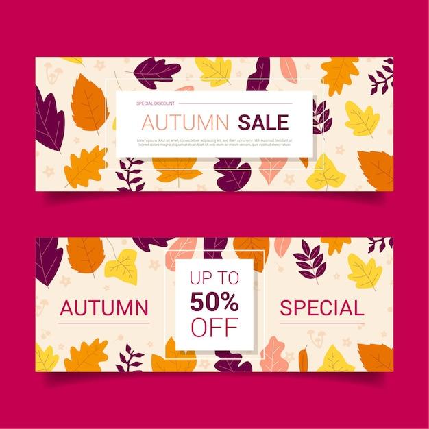 Banners de venda de outono Vetor Premium