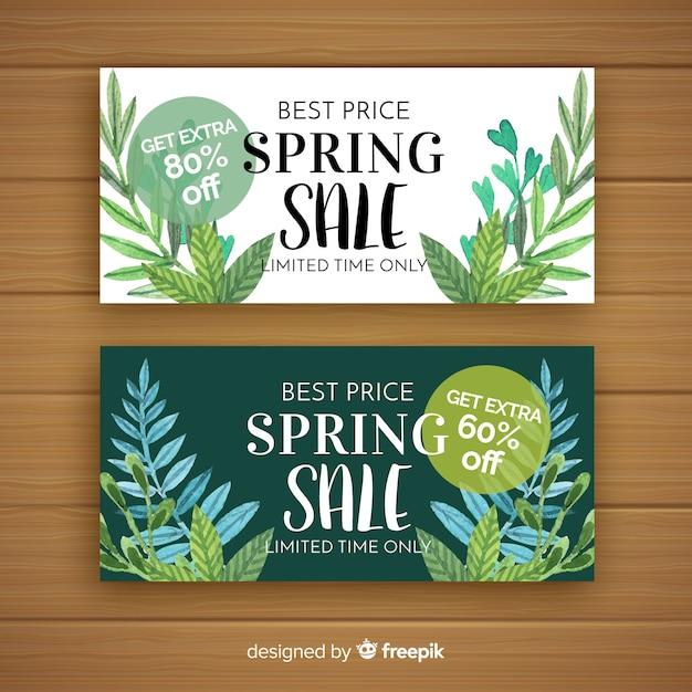 Banners de venda de primavera aquarela Vetor grátis