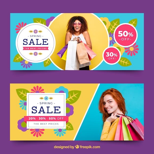 Banners de venda de primavera com foto de mulher Vetor grátis