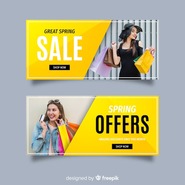 Banners de venda de primavera com foto Vetor grátis