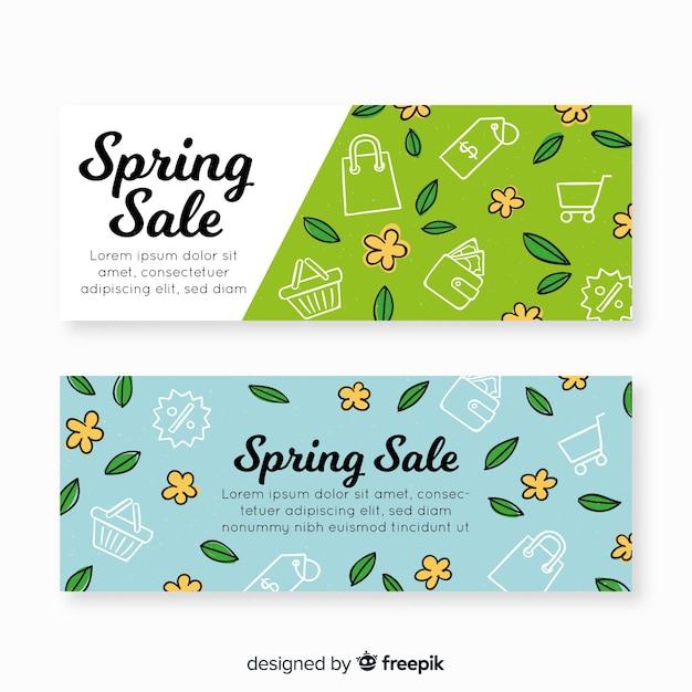 Banners de venda de primavera de mão desenhada Vetor grátis