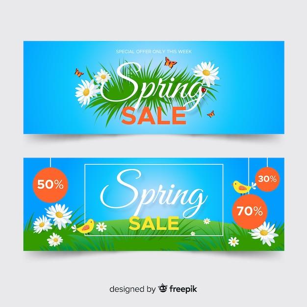 Banners de venda de primavera plana Vetor grátis