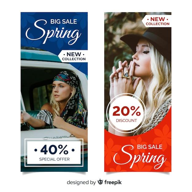 Banners de venda de primavera Vetor grátis