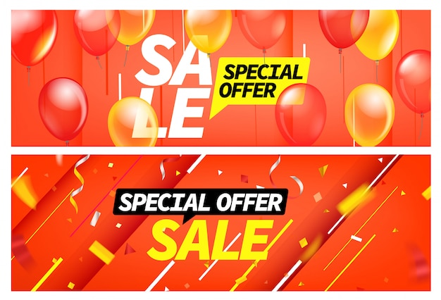 Banners de venda de temporada. conjunto de desconto para oferta especial Vetor Premium