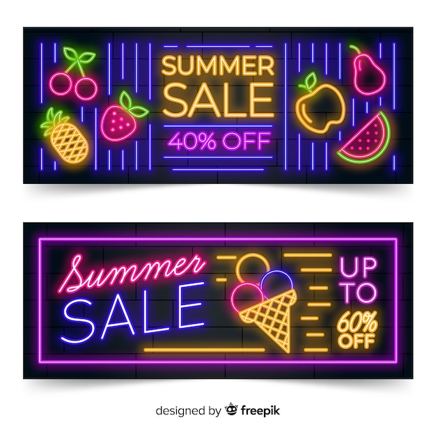Banners de venda de verão luzes de néon Vetor grátis