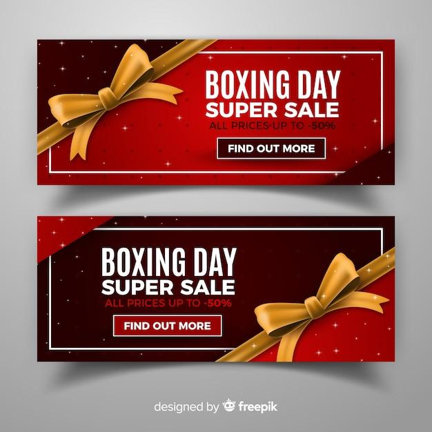 Banners de venda do dia de boxe realista Vetor grátis