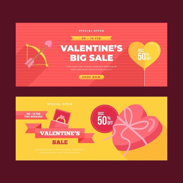 Banners de venda do dia dos namorados com design plano Vetor grátis