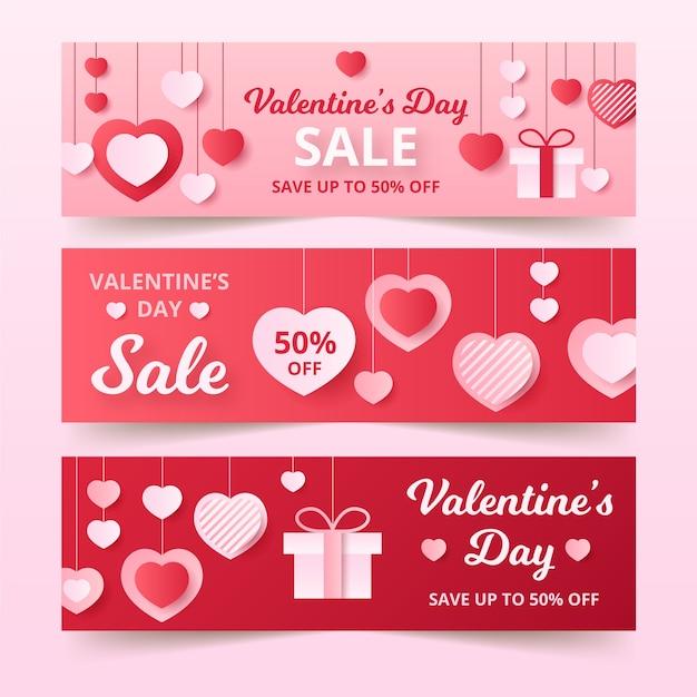 Banners de venda do dia dos namorados em design plano Vetor grátis