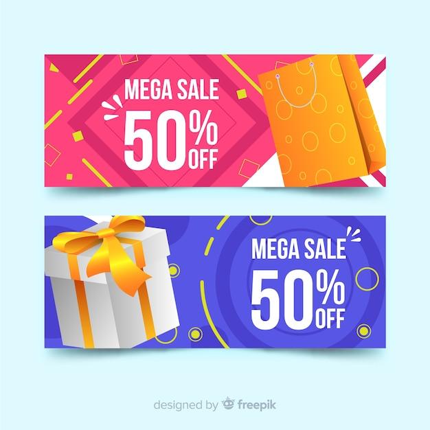 Banners de venda geométrica abstrata com elementos realistas Vetor grátis