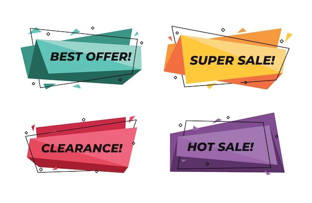 Banners de venda moderna geométrica abstrata conjunto super desconto preço Vetor Premium