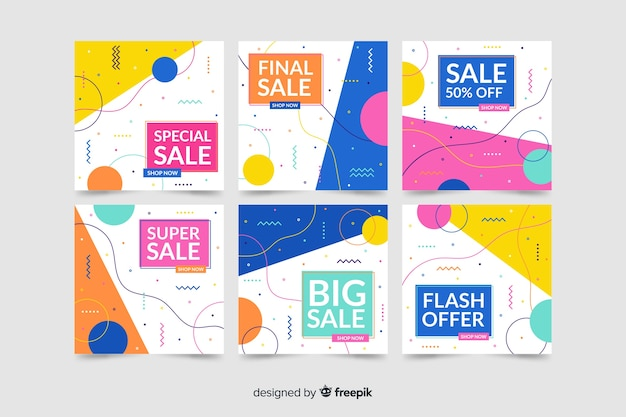 Banners de venda moderna para mídias sociais Vetor grátis