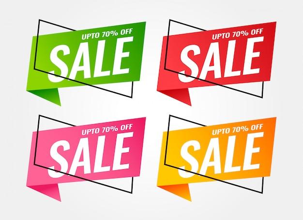 Banners de venda na moda em cores diferentes Vetor grátis