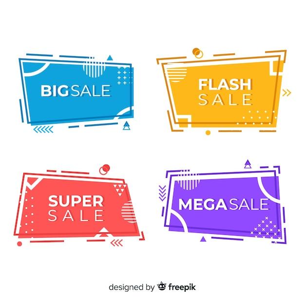 Banners de venda no estilo memphis Vetor grátis