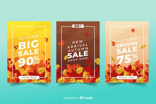 Banners de venda outono design plano Vetor grátis