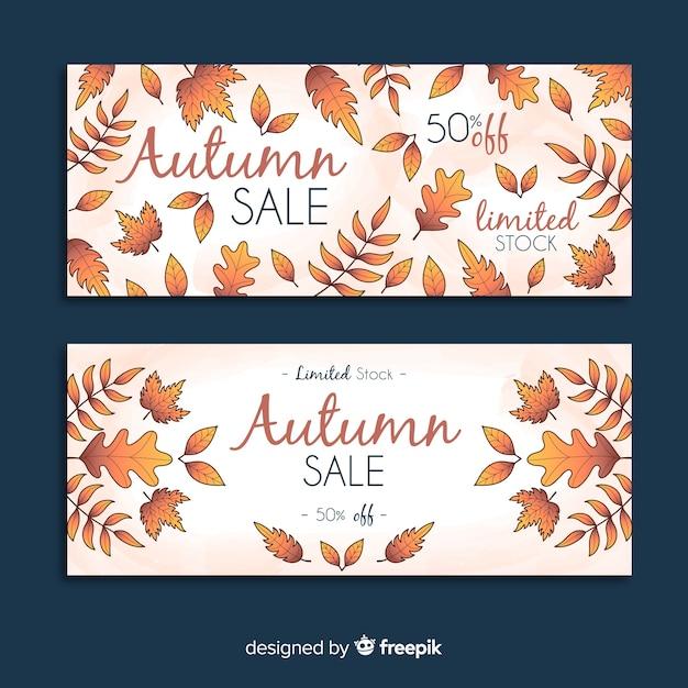Banners de venda outono mão desenhada Vetor grátis