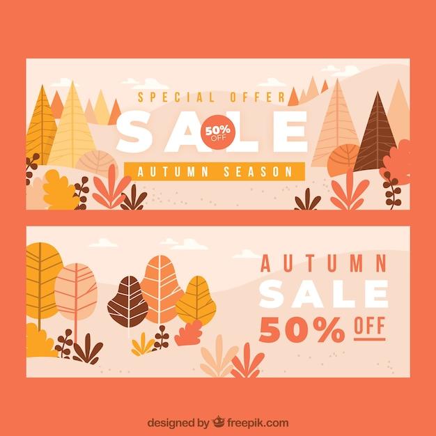 Banners de venda outono Vetor grátis