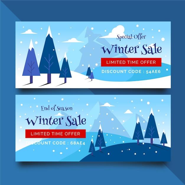 Banners de venda plana de inverno com neve e árvores Vetor grátis