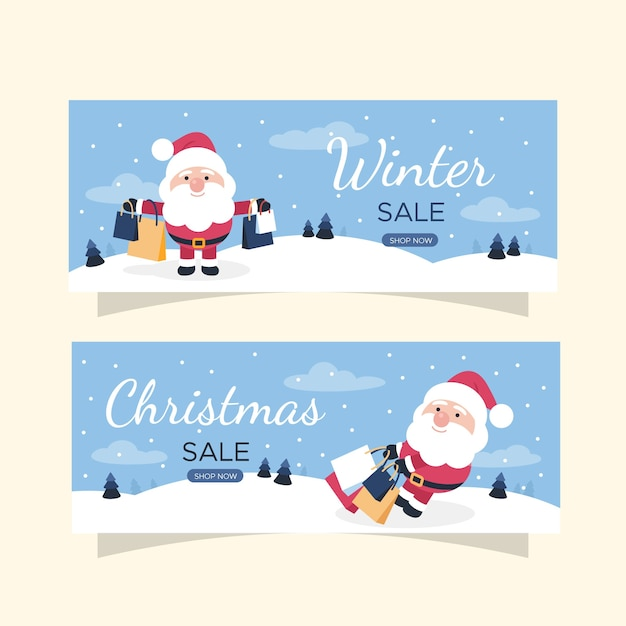 Banners de venda plana de inverno com papai noel e presentes Vetor grátis