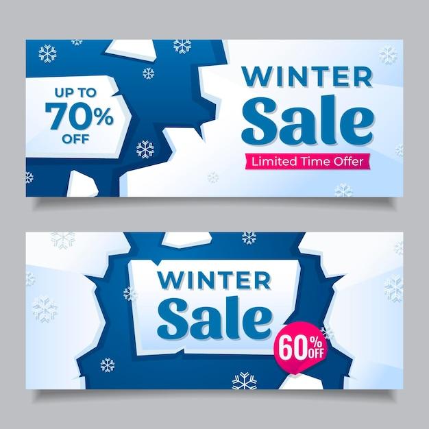 Banners de venda plana de inverno Vetor grátis