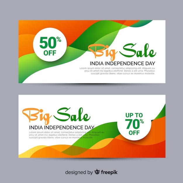 Banners de venda plana índia dia da independência Vetor grátis
