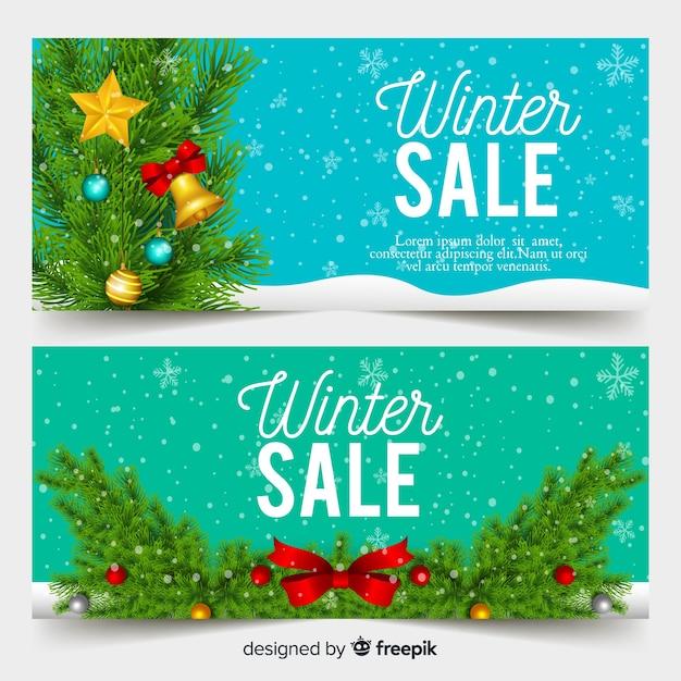 Banners de venda realista de inverno Vetor grátis