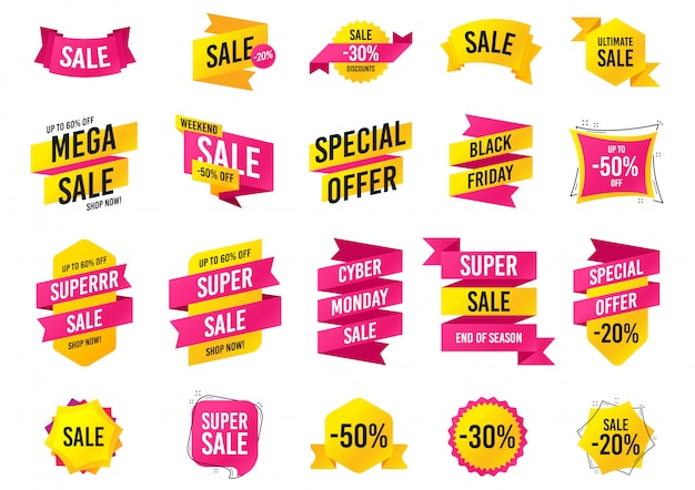 Banners de venda. sexta-feira negra, modelos de oferta especial de cyber segunda-feira. Vetor Premium