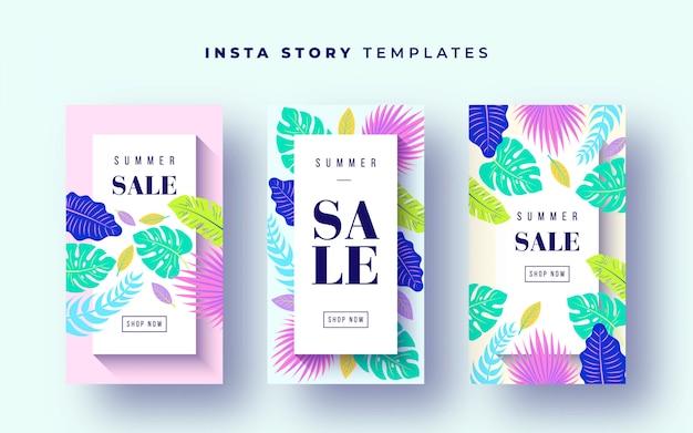 Banners de venda tropical para histórias de instagram Vetor grátis