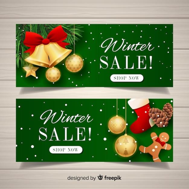 Banners de vendas de inverno realista Vetor grátis