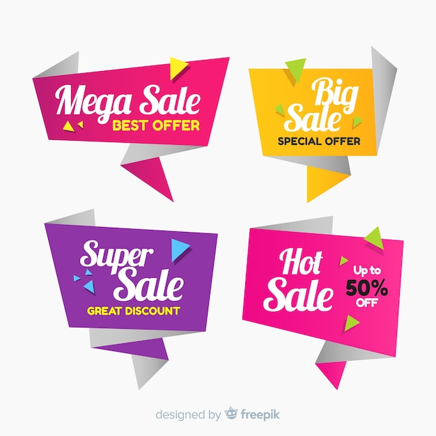 Banners de vendas de origami colorido Vetor grátis