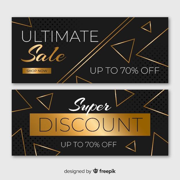 Banners de vendas de ouro com formas geométricas Vetor grátis