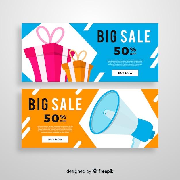 Banners de vendas geométricas abstratas com elementos realistas Vetor grátis