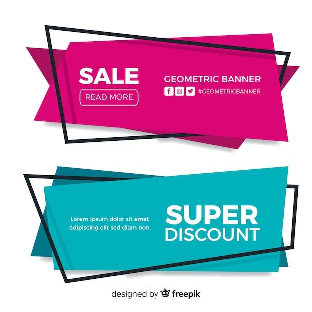 Banners de vendas geométricas Vetor grátis