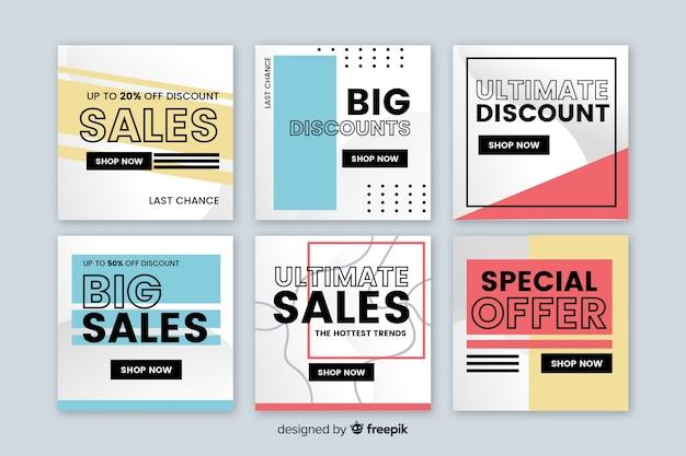 Banners de vendas modernas para mídias sociais Vetor grátis
