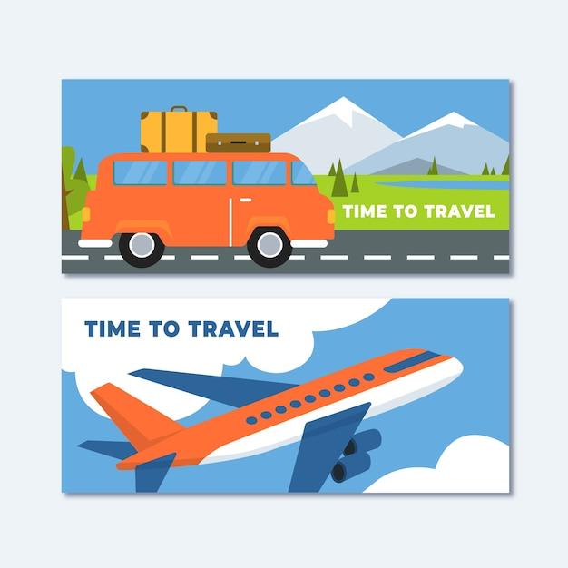 Banners de viagens coloridas com design plano Vetor grátis