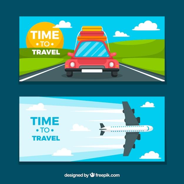 Banners de viagens com design plano Vetor grátis