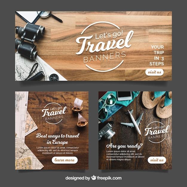Banners de viagens com fotografia Vetor grátis